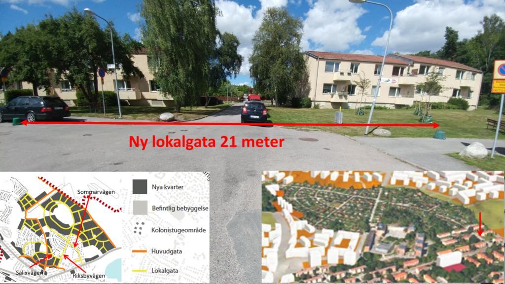 Bilden visar vägen in mot Sommarvägen i Iris koloniområde sett från Kvarnbacksvägen/Spetsvägen.