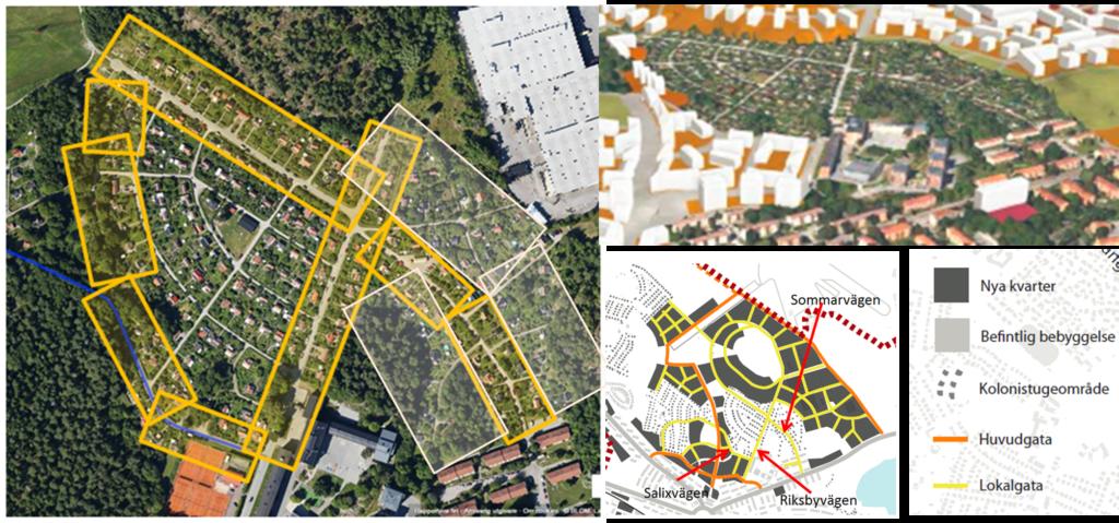 Den här ritningen visar konsekvenserna av breddning av Riksbyvägen, Sommarvägen och Salixvägen.