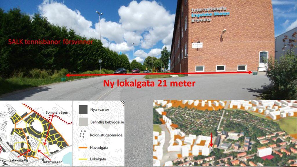 Riksbyvägen med Engelska skolan och SALK tennisbanor på vardera sida.