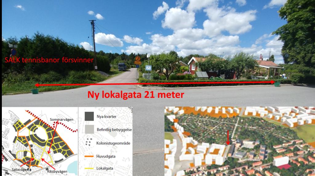 Salixvägen som kommer att bli en lokalgata enligt Stadsbyggnadskontorets förslag.