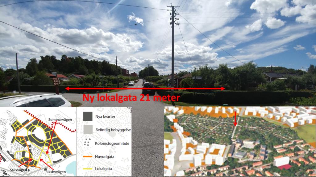 Korsningen Riksvägen-Sommarvägen i riktning mot Engelska skolan.