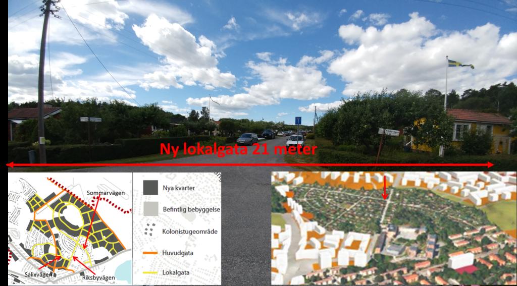 Korsningen Sommarvägen-Riksbyvägen i riktning mot golfbanan/gamla landningsbanan.