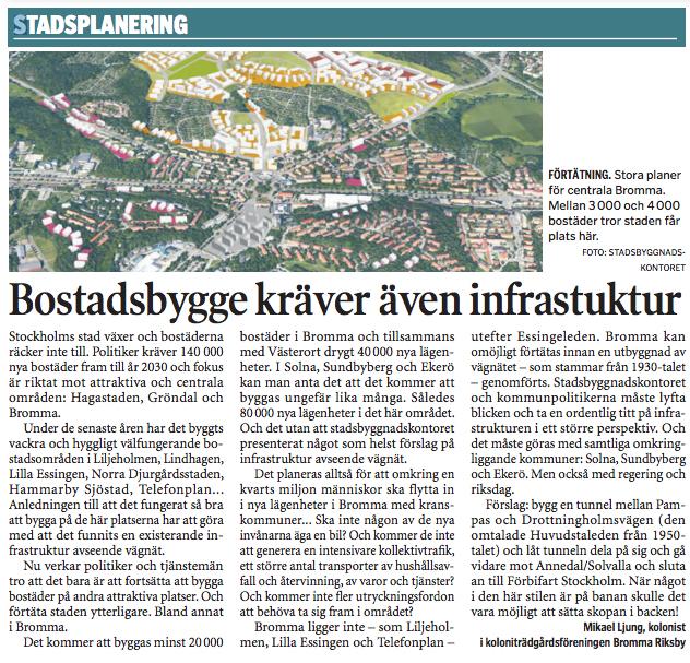 Mikael Ljungs artikel i Bromma Tidning som handlar om infrastruktur avseende vägnät