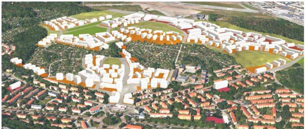 """Bild från Stadbyggnadskontorets programförslag för området """"Norra Riksby""""."""