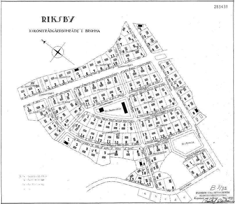 Stadsplan över Riksby koloniområde, 1932.