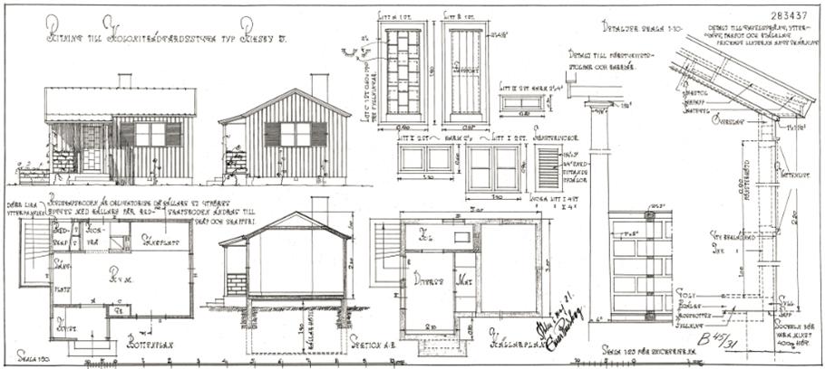 Exempel på arkitektritad kolonistuga, Riksby koloniområde.